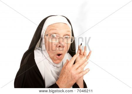 Funny Nun Caught Smoking