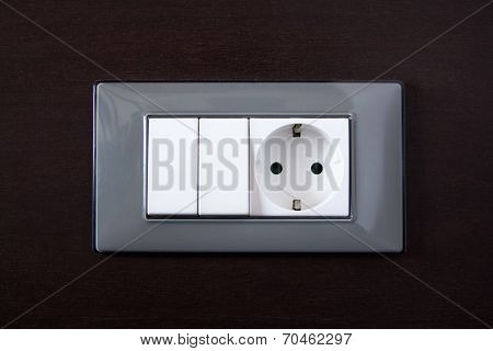 Wooden Wall With Power Outlet And Light Switch