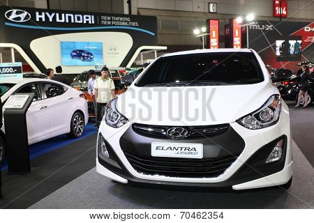 Bangkok - August 19: Hyundai Elantra Car On Display At Big Motor Sale On August, 2014 In Bangkok, Th