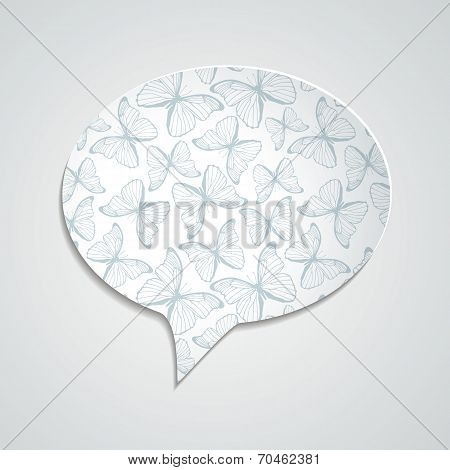 Speech bubble with butterfly ornament and shadow