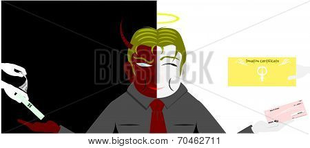 Two faces of business man