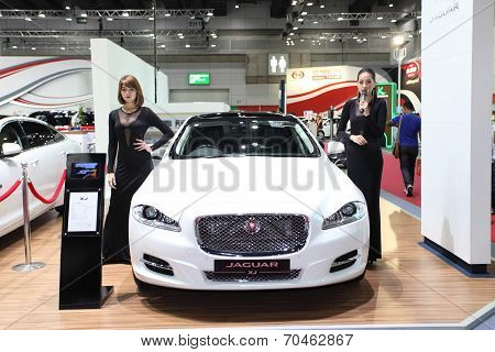 Bangkok - August 19: Jaguar Xj Car With Unidentified Models On Display At Big Motor Sale On August,