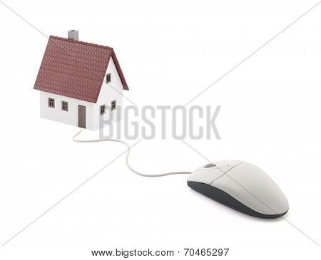 Small house connected to computer mouse