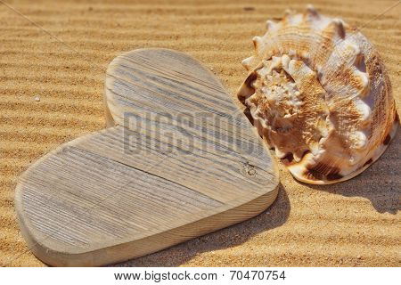 Wooden Heart And Sea Shell