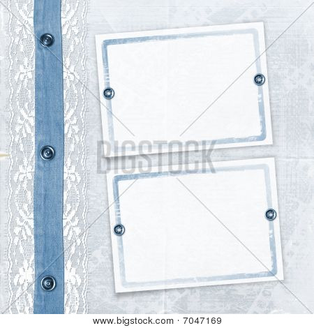Blue Album For Photos With Jeans And Lace