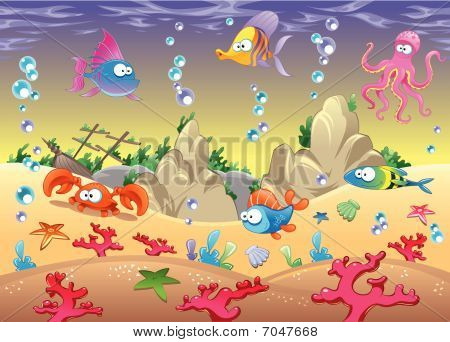 Family of marine animals in the sea.