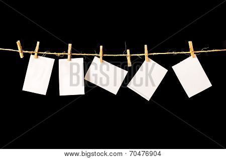 Paper, Blank Pieces Of Paper Hang On Clothesline
