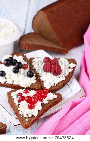 Bread with cottage cheese and berries on plate close-up