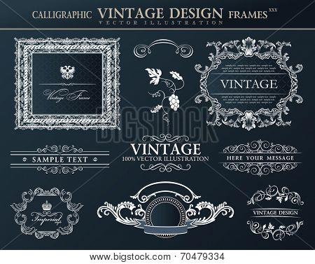 Vintage abstract frames . Vector element decor black