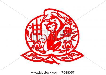 Chinese folk paper-cut - Zodiac Monkeys