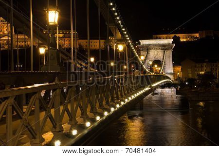 Chain Bridge Budapest Hungary Illuminated At Night With Old Palace In The Background