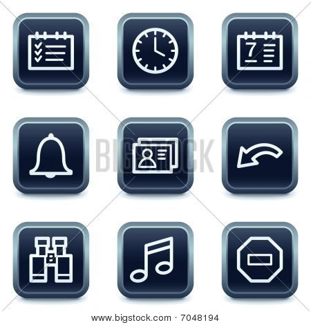 Organizer web icons, mineral square buttons series