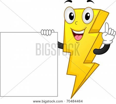 Mascot Illustration Featuring a Lightning Bolt Standing Beside a Blank Poster
