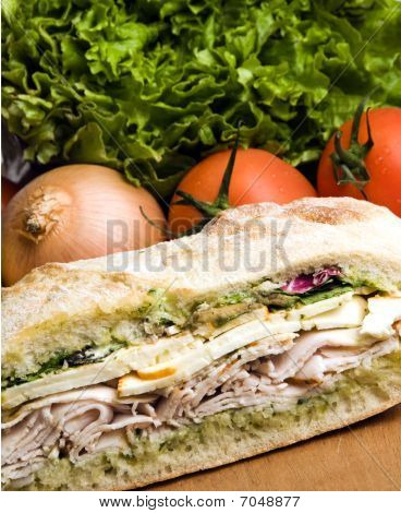 Sanduíche de frango gourmet