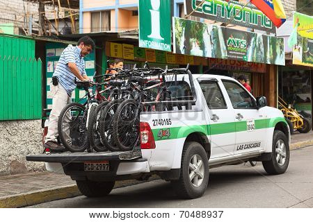 Bikes on Pickup Truck in Banos, Ecuador