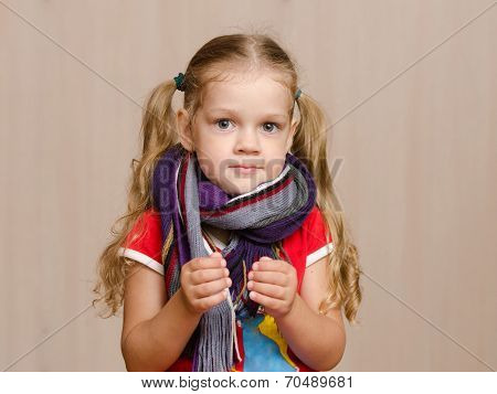 Girl With A Sore Throat In Warm Scarf