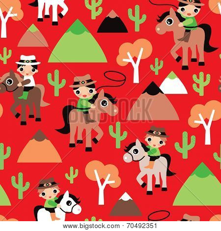 Seamless western retro red cowboy and horse cacti illustration wild west kids background pattern in vector