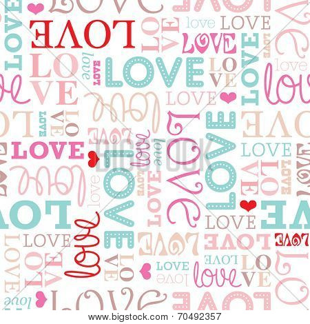 Seamless love typography valentine's day soft pastel background pattern in vector