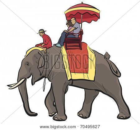 Editable vector illustration of tourists riding on an Asian elephant with mahout