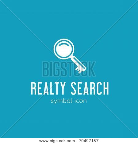 Realty Search Vector Concept Symbol Icon or Logo Template