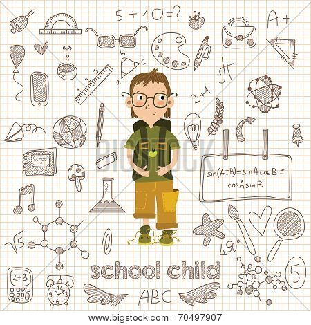 Back To School Big Doodles Set In Hand Drawn Style. Vector Illustration.design Elements  Icon Set Wi