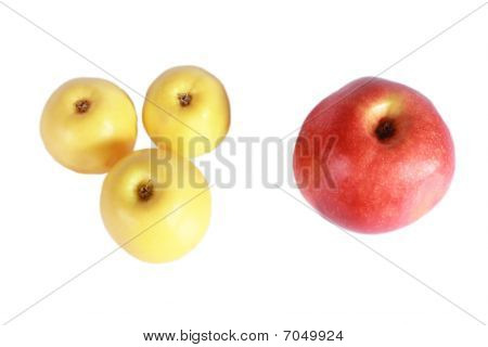 Three yellow and one red apple Isolated on white background