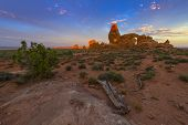 stock photo of turret arch  - Turret Arch at sunrise - JPG