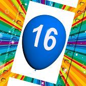 picture of sweet sixteen  - Balloon Showing Sweet Sixteen Birthday Partying Image - JPG