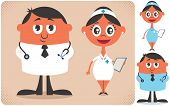foto of overcoats  - Illustration of cartoon doctor and nurse in 2 color versions - JPG