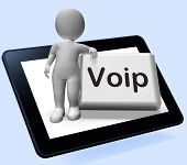 pic of voip  - Voip Button Tablet With Character Meaning Voice Over Internet Protocol - JPG