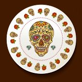 stock photo of day dead skull  - Skull and Flowers on a white plate Day of The Dead Vector illustration - JPG