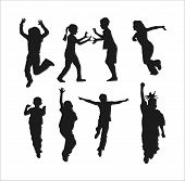 stock photo of children playing  - Silhouettes of children playing - JPG