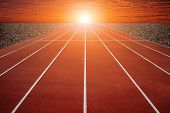 stock photo of olympiad  - The Running track and sky  - JPG