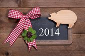 stock photo of red clover  - Happy new year 2014  - JPG