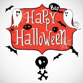 stock photo of happy halloween  - Hand drawn comic frame with Happy Halloween lettering skull with crossed bones doodle ghosts bats and spider web on white background - JPG