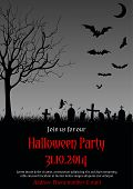 stock photo of happy halloween  - Vector illustration of Halloween party invitation in gothic style decorated with haunted tree - JPG