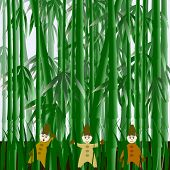 stock photo of gnome  - Illustration with gnomes in the field of bamboo - JPG