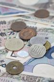 picture of japanese coin  - Close - up japanese yen bank note and japanese coin