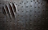 picture of claw  - monster claw scratches on metal wall or door background - JPG