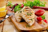 picture of  breasts  - Grilled chicken breast with fresh vegetables  - JPG