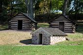 stock photo of revolutionary war  - Cabins used by Revolutionary War soldiers during the brutal winter of 1776 under the command of General George Washington - JPG