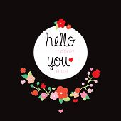 stock photo of adoration  - Hello I adore you a lot love quotation postcard or poster design for lovers and valentines day text background illustration in vector - JPG