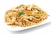 picture of chinese wok  - Delicious chinese food chicken Lo Mein stir fry - JPG