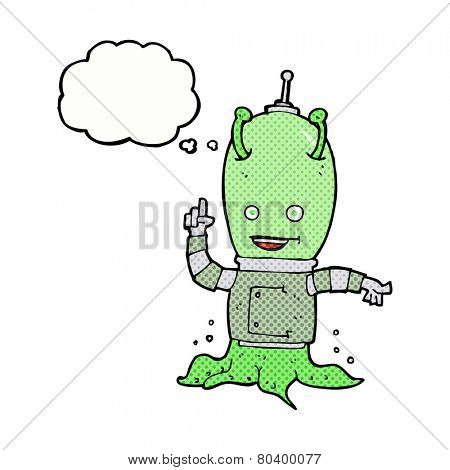 cartoon alien spaceman with thought bubble