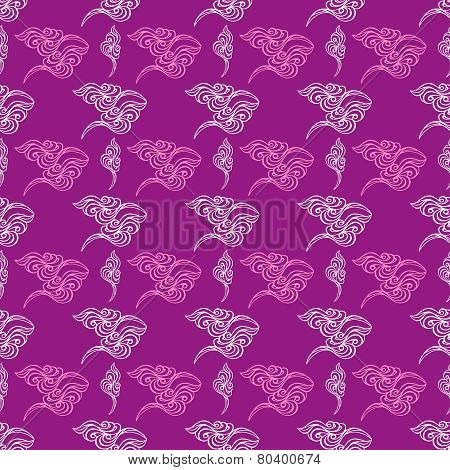 Abstract Wave Tracery Purple Wallpaper, Seamless Pattern.