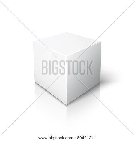 White cube on white background with reflection