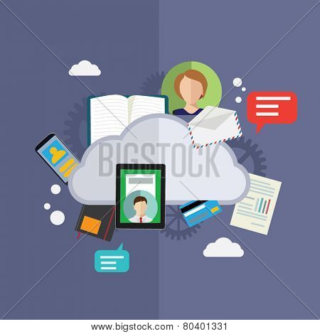 Cloud computing and technology flat vector illustration