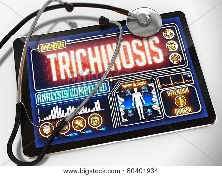 Trichinosis on the Display of Medical Tablet.