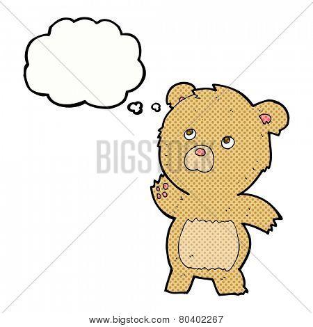 cartoon curious teddy bear with thought bubble