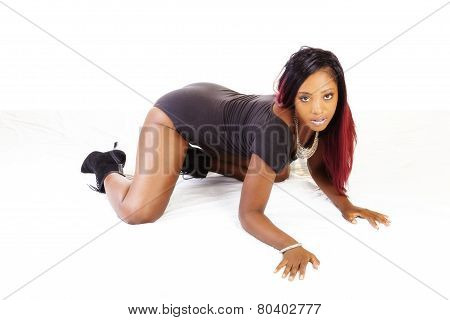 Attractive Young African American Woman Hands And Knees